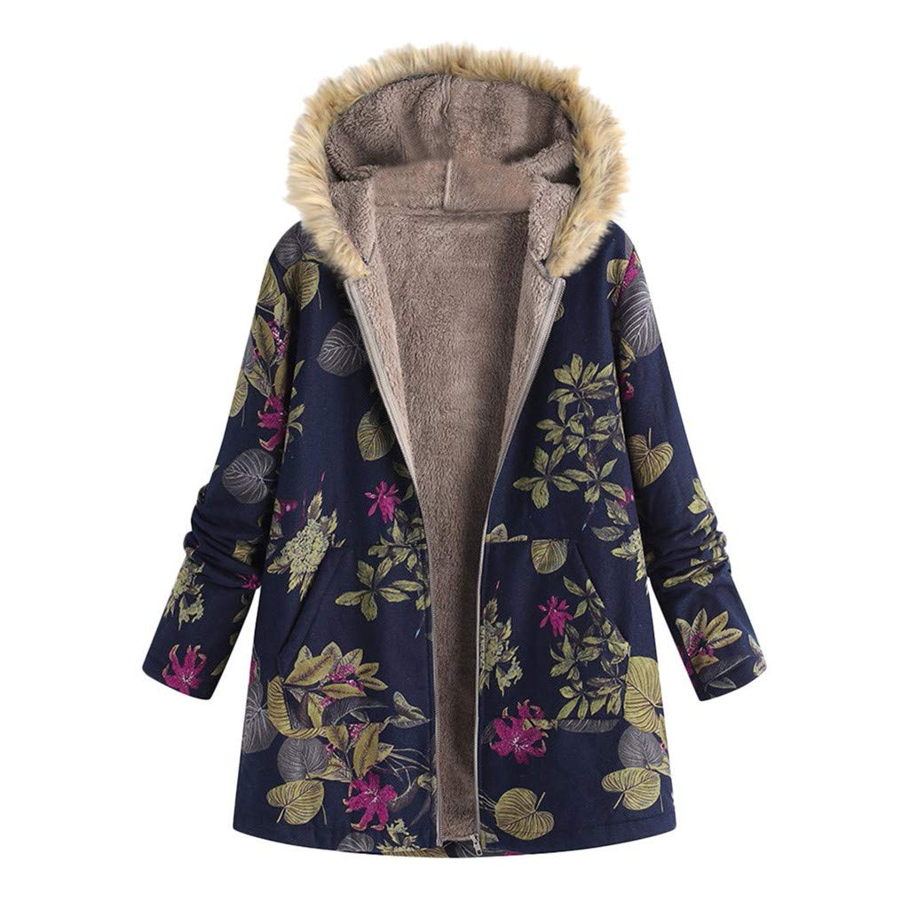 DRAGONHOO Women's Thickened Jacket Fur Collar Zipper and Velvet Printed Cardigan Long Button Coat Outwear Navy by DRAGONHOO
