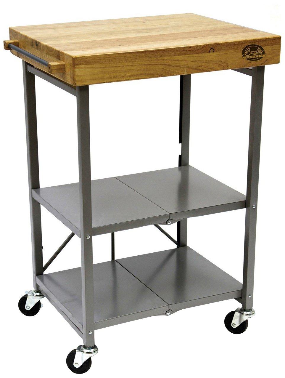 Bradley Smoker Foldable Kitchen Cart, Transitional