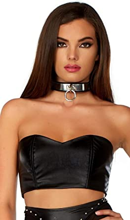 08b7899d418 Faux Leather Bandeau Crop Top Matte Sweetheart Zipper Back Black M/L ...