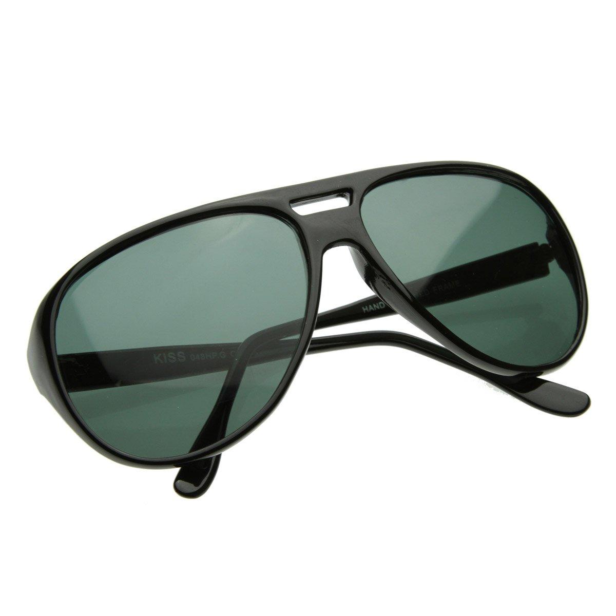 6beea3fe5 Amazon.com: X-Large Classic Retro Plastic Teardrop Aviator Sunglasses w/Green  Lens (Black): Shoes