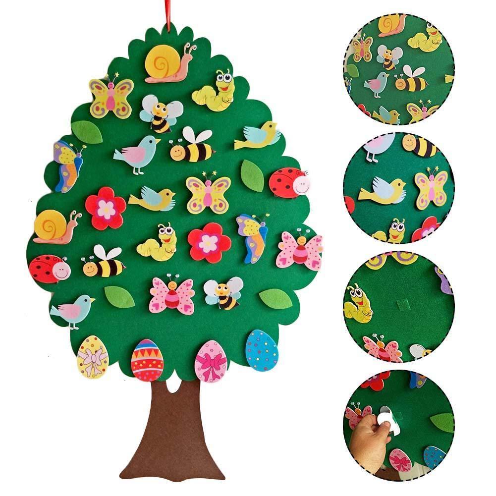 RecoverLOVE 2020 Bambini Pasqua Kit Fai-da-Te in Feltro Giochi Set Giocattolo per Bambini Regali pasquali Decorazione della Parete della Porta di casa Decorazione ad Albero con Ornamenti Rimovibili