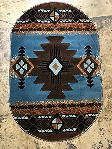 Dark Chocolate Oval Rug (Southwest Native American Oval Area Rug Blue Brown Concord Design C318 (5 Feet 2 Inch X 7 Feet ))