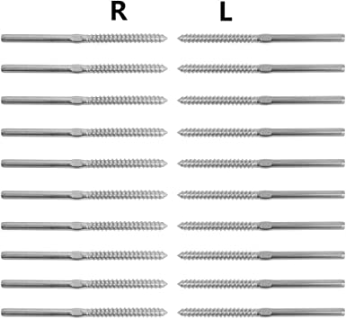 CK17,Series CA1 CD1 CS1 60 Pack Muzata Swage Lag Screws Left /& Right 30 Pairs for 1//8 Cable Railing System,T316 Stainless Steel Stair Deck Wood Post Balusters Decking Hardware