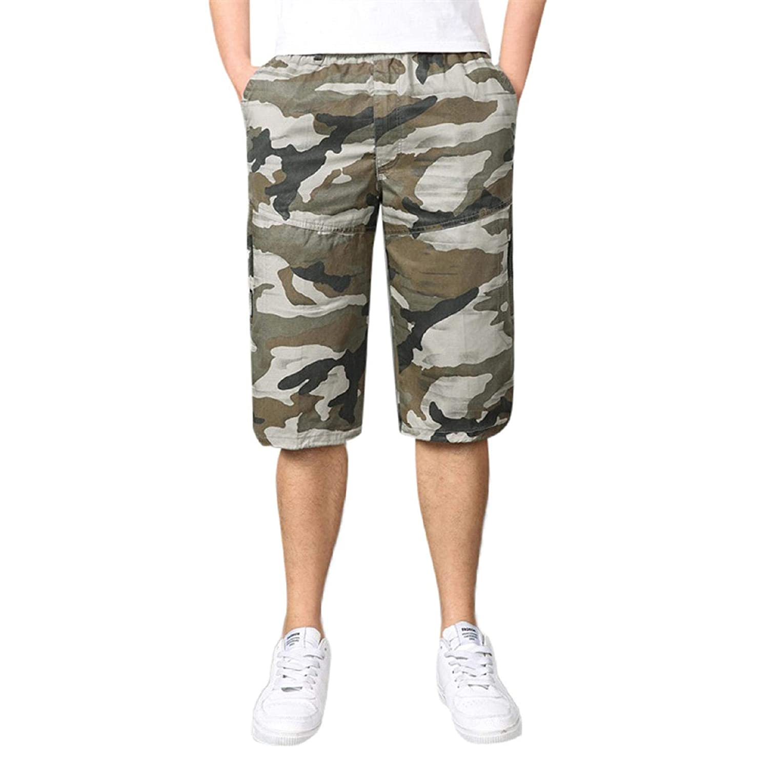 77593a366f Amazon.com: ANKOLA FOR MEN Mens Multi-Pocket Cotton Shorts, Summer Camo  Cargo Shorts Loose Fit Lightweight Camouflage Short Pants: Clothing