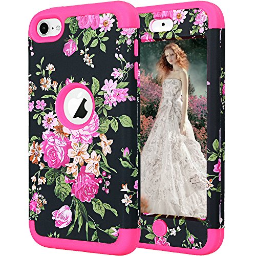 (ipod Touch 6th Generation case,ipod Touch 5 Case,Auker Vintage Flower Design Shockproof Military Grade Armor Full Body Hybrid Protective Non Slip Case with Dual Layer Hard PC+Soft for ipod 5/6 (Rose))