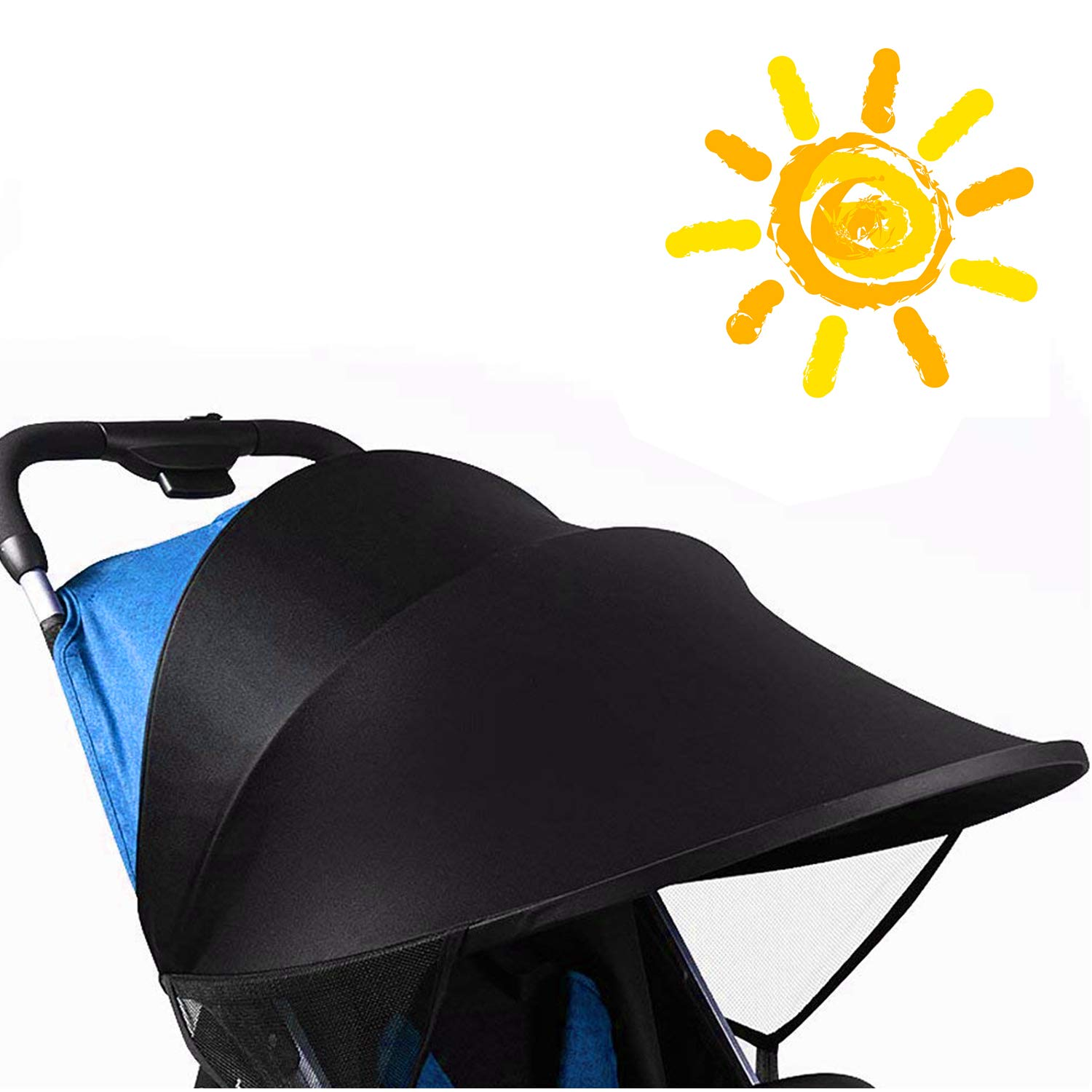 Universal Stroller Sun Shade Cover, Large Shade Maker Sun Shade Canopy UV Protection Rays Cover,Anti-UV Windproof Awning Sunshade for Stroller Pram Buggy Pushchair BORUD