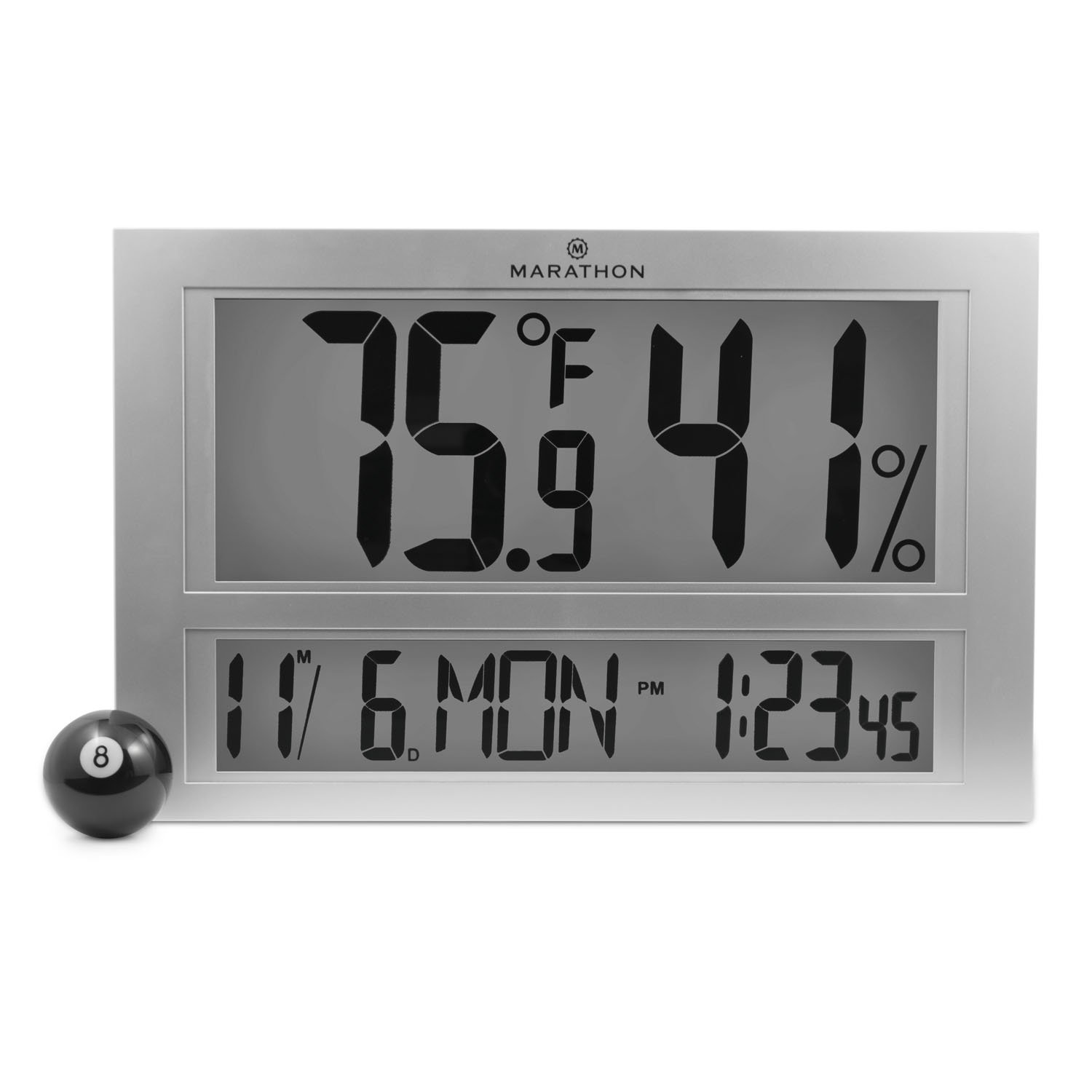 Marathon Industries MARATHON CL030040 Jumbo Digital Thermometer with Humidity and Clock and Date - Batteries Included
