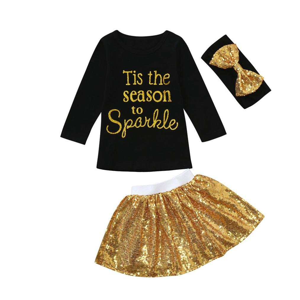 3PCS Toddler Baby Girls Letter Sequins Tops+Elastic Skirt+Bow Headband Clothes Set Outfits