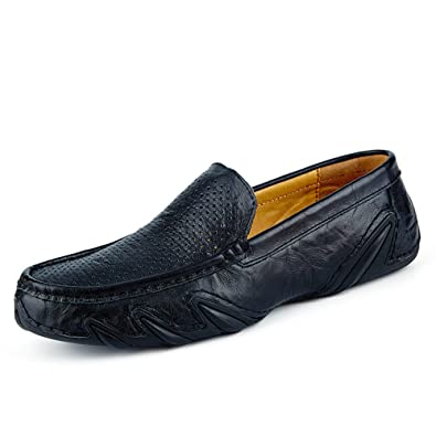 Mens Embossed Stripe Suede Loafers Casual Slip On Driving Boat Shoes
