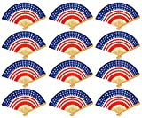 Set of 12 Patriotic Hand Fans! 9'' American Flag Hand Fans Perfect for Party Favors, Fireworks, Parties, Events, 4th of July, and More!