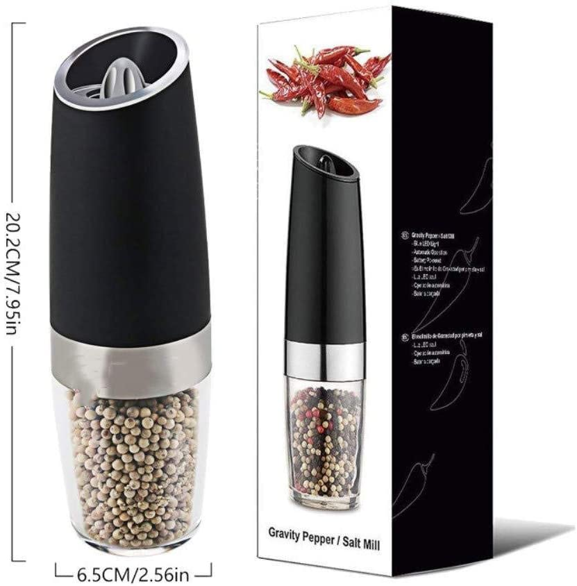 Spice Grinder,Electric Pepper Grinder,One Handed Operation,Gravity Control Battery Powered with Blue LED Light,Pepper Grinder Battery Operated。
