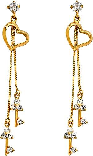 14K Yellow Gold CZ Flower Screw Back Stud Earrings Ioka