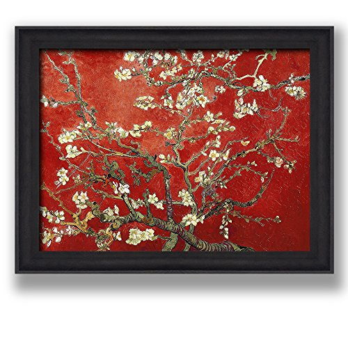 Framed Art Almond Blossoms by Vincent Van Gogh Interpretation in Red Famous Painting Wall Decor Dark Coffee Brown Frame