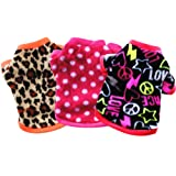 Yikeyo Set of 3 Winter Warm Fleece Sweater for Small Dog Girl Chihuahua Yorkies, Tiny Puppy Clothes, Cute Female Dog Sweaters