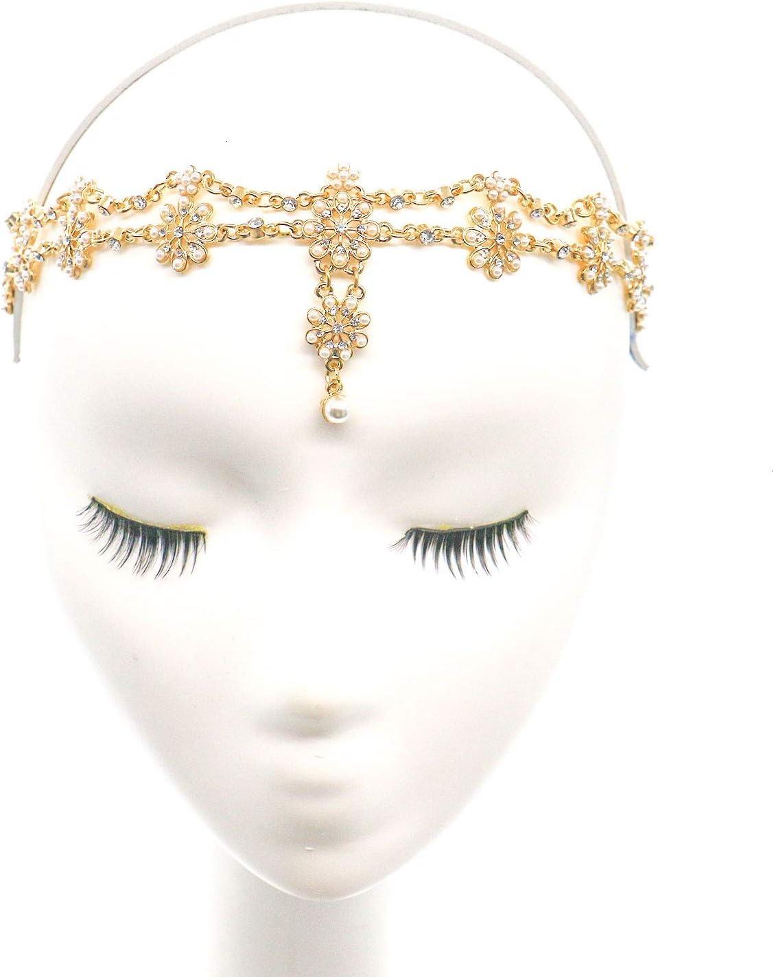 Gonioa Head Chain Jewelry Headband Crystal Bohemian Hair Accessories with Peal Women Head Chains Forehead Chain Rhinestone Headpieces with Drop Pendant