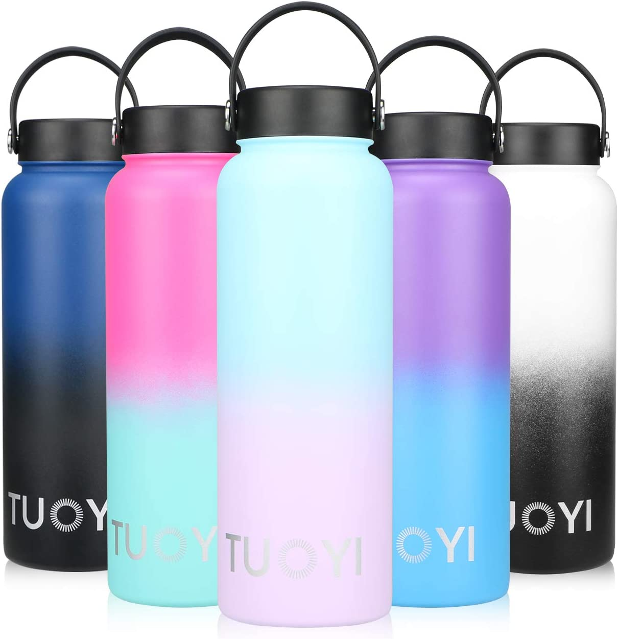 TUOYI Insulated Water Bottle 18oz 40oz Double Vacuum Stainless Steel Portable Sports Water Bottle with Straw Keeps Water Stay Cold for 24 Hours, Hot for 12 Hours