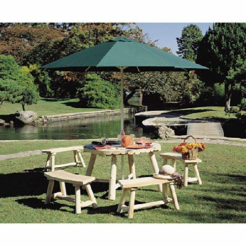 カナディアンログファニチャー:ラウンドパラソルテーブルとベンチ4台[木製ガーデンファニチャー] B06XKY18J6