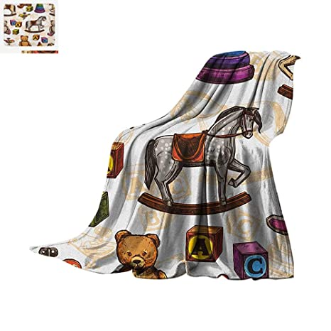 Astounding Vintage Throw Blanket Retro Style Kids Toys Rocking Horse Teddy Bear And Bird Illustration Print Warm Microfiber All Season Blanket For Bed Or Couch Gamerscity Chair Design For Home Gamerscityorg