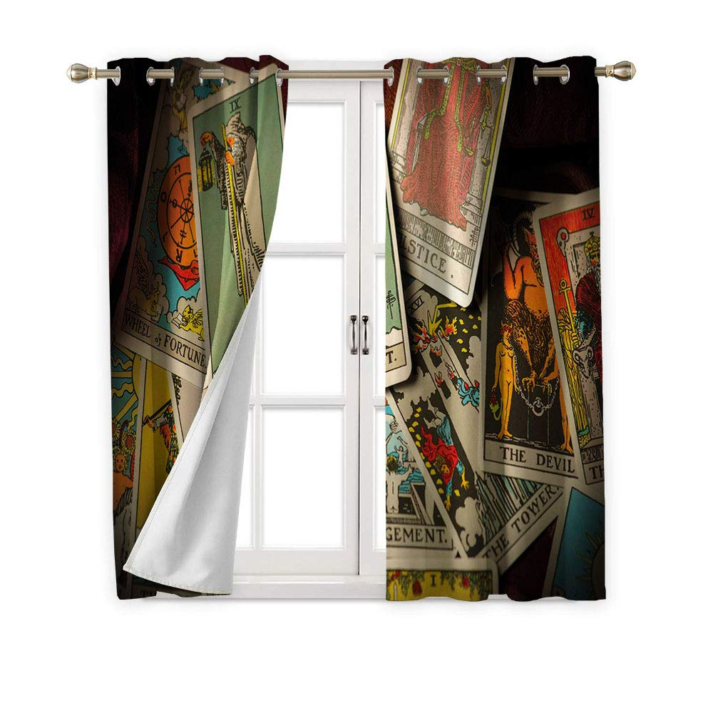 Jinguizi Tarot Card Grommet Curtain Kids,A Pile of Mystical Fortune Telling Elements Jumbled Together Fantasy Themes,2 Panel Darkening Curtains,96W x 72L by Jinguizi (Image #2)