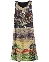 ROPALIA Womens Sleeveless Silk Chiffon Slit Dress Pattern Beach Dress Sundresses