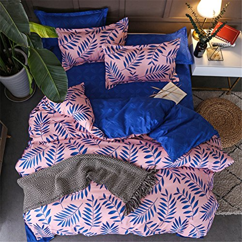 BeddingWish Polyester Floral Duvet Cover Sets for Women Girls Palm Leaves Printed 1 Comforter Cover with ziper + 2 Pillowcases, Pink&Royal Blue Twin Size