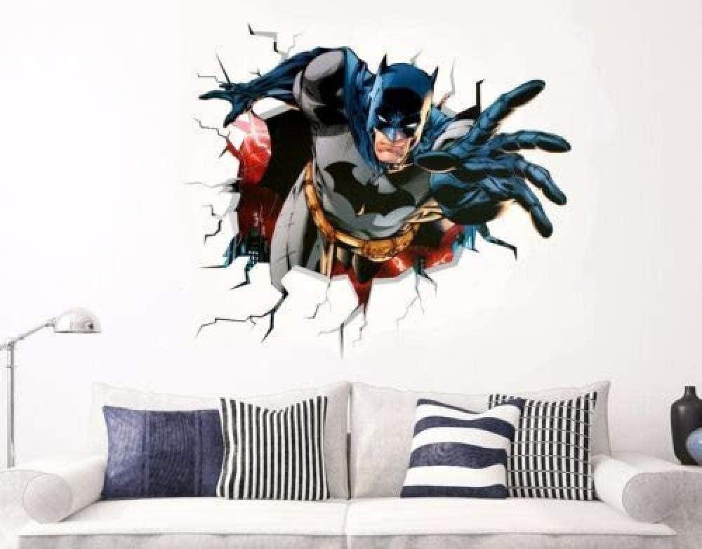 Adhesivo de pared 3D Adhesivos de pared Batman Calcomanías de pared Adhesivos de vinilo Decoraciones para puertas y ventanas Arte Familia Póster 3D Mural