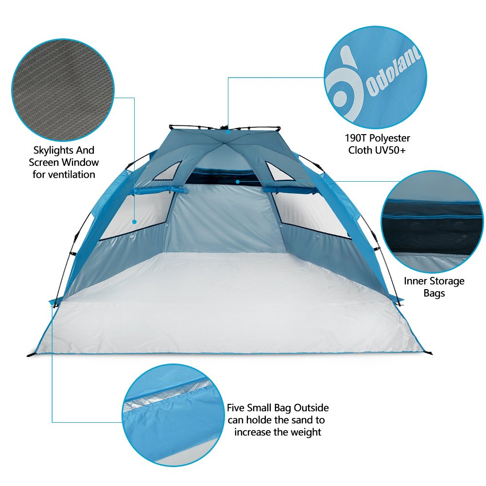 Amazon.com Beach Tent Pop Up Sun Shelter UPF 50+ Sun Protection Polyester Tent Extend Size 94 x78  Sports u0026 Outdoors  sc 1 st  Amazon.com & Amazon.com: Beach Tent Pop Up Sun Shelter UPF 50+ Sun Protection ...