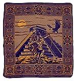 El Paso Designs Mexican Aztec Warrior Popocatepetl Guerrero Azteca Legend Pictorial Woven Blanket (92'' x 74'') (Aztec Pyramid Yellow and Purple, Queen)