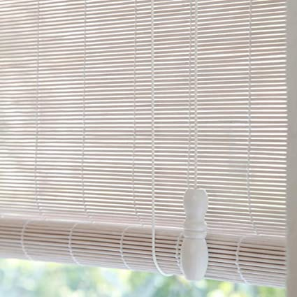 Deevin Roll Up Blinds White Bamboo Roller Shades Natural Roman Shades Light Filtering Shades For Garden Patio Windows Customizable Amazon Co Uk Kitchen Home