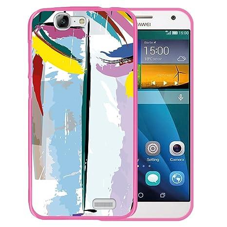 WoowCase Funda Huawei Ascend G7, [Huawei Ascend G7 ] Funda Silicona Gel Flexible Pintura Abstracta, Carcasa Case TPU Silicona - Rosa
