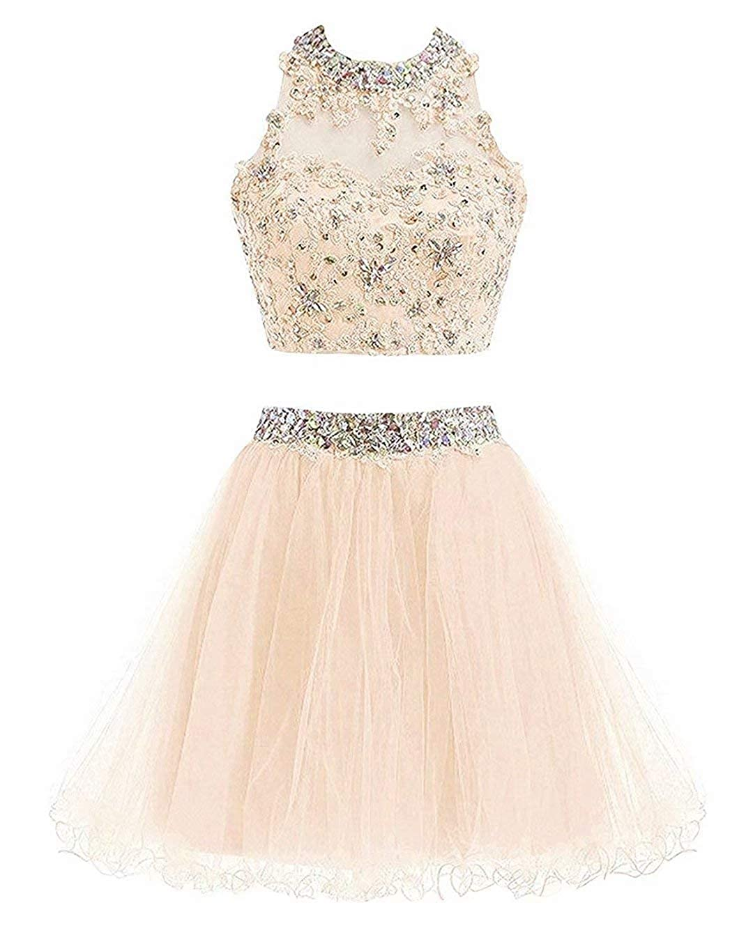 Champagneb Ubride 2019 Juniors' Short Two Pieces Beaded Halter Prom Homecoming Dress Cocktail Gown