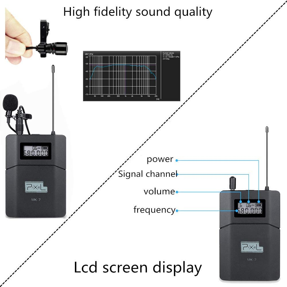 Wireless Lavalier Microphone Pixel 6 Channels UHF System Wireless Mic for Camera DSLR Phone Used for YouTube Vlog Photography Video Recording News Gathering