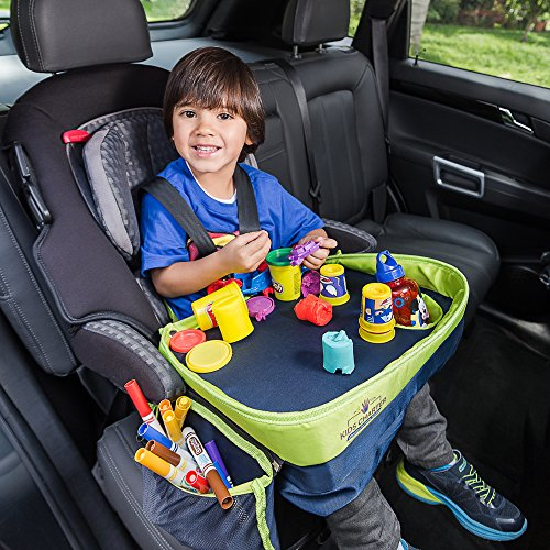 Deluxe Folding Booster (Kids Charter Travel Tray With Blue n Green Deluxe Edition–4Times Thicker Walls-Bigger Cup Holder-Wider Surface-Provides Stress Free Rides For Baby-Keeps ToddlerToys Off The Floor–For Car Seat-Stroller)