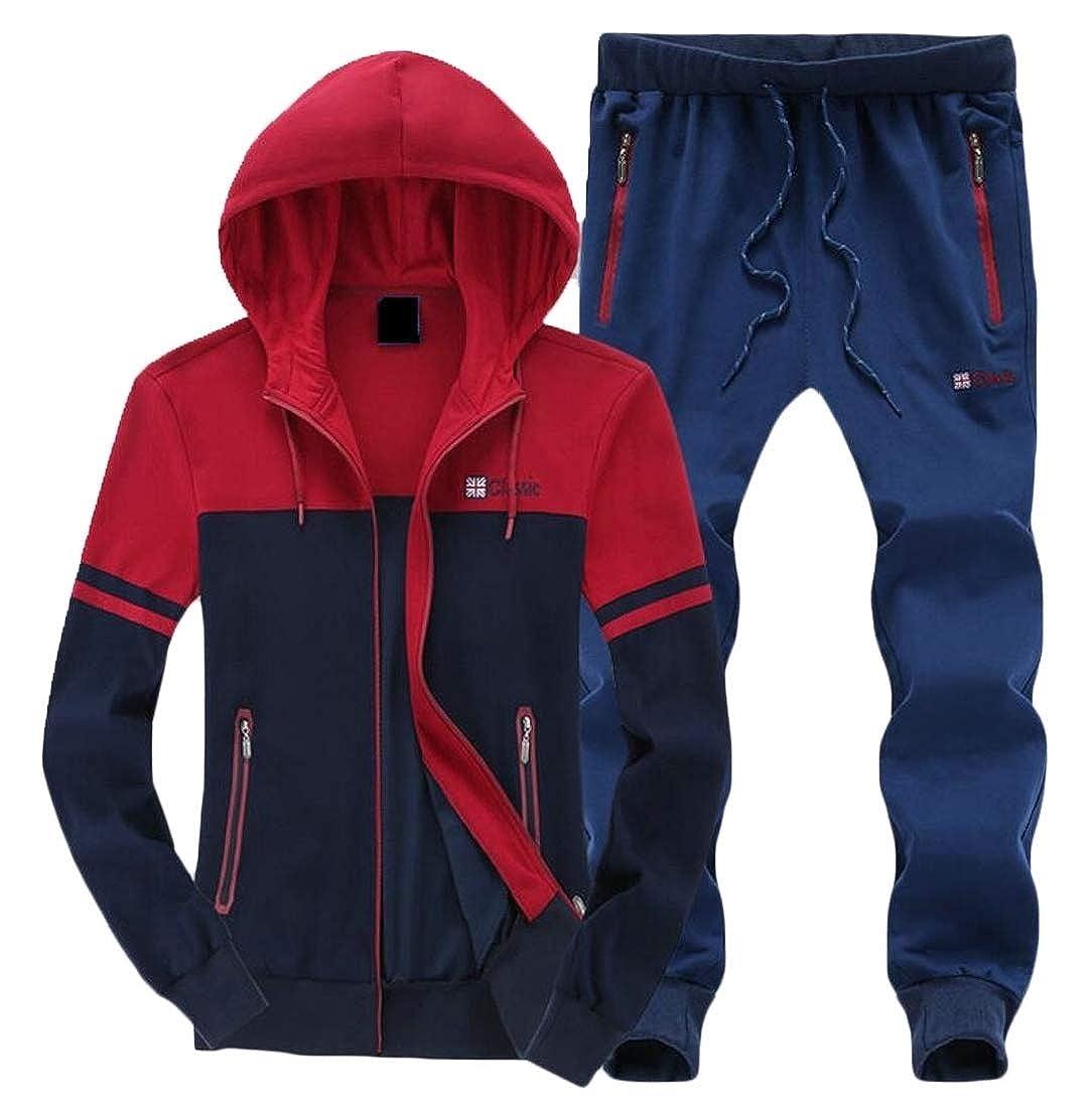 ainr Men Tracksuit Hoodie Full Zip Jacket Pants 2 Pieces Running Sweatsuits