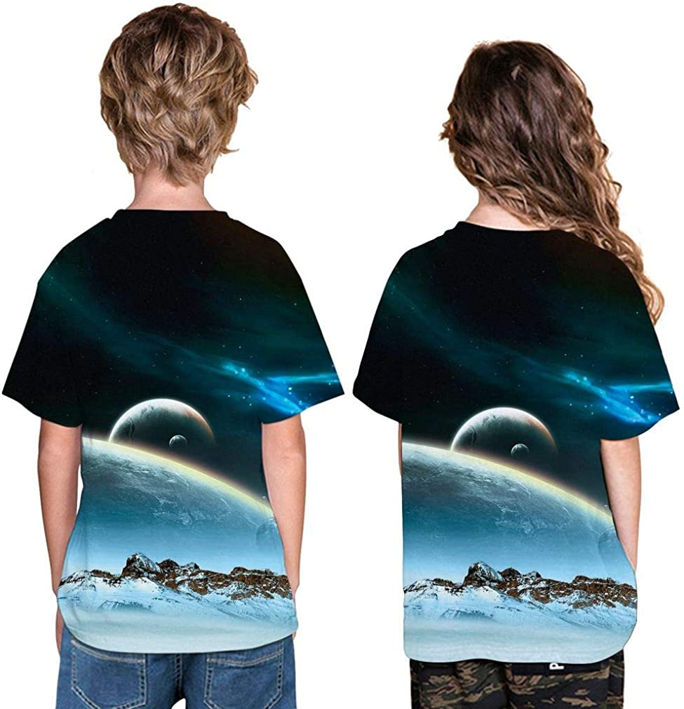 SAYM Boys Youth Kids Galaxy Comfy Soft Moisture Wicking Tops Tees Shirts