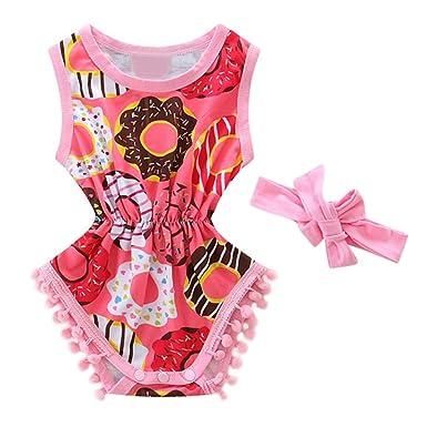 0c9456e6f38 Baby Girls  Donut Print Pompom Sleeveless Romper Summer Clothes + Headband  (0-6M