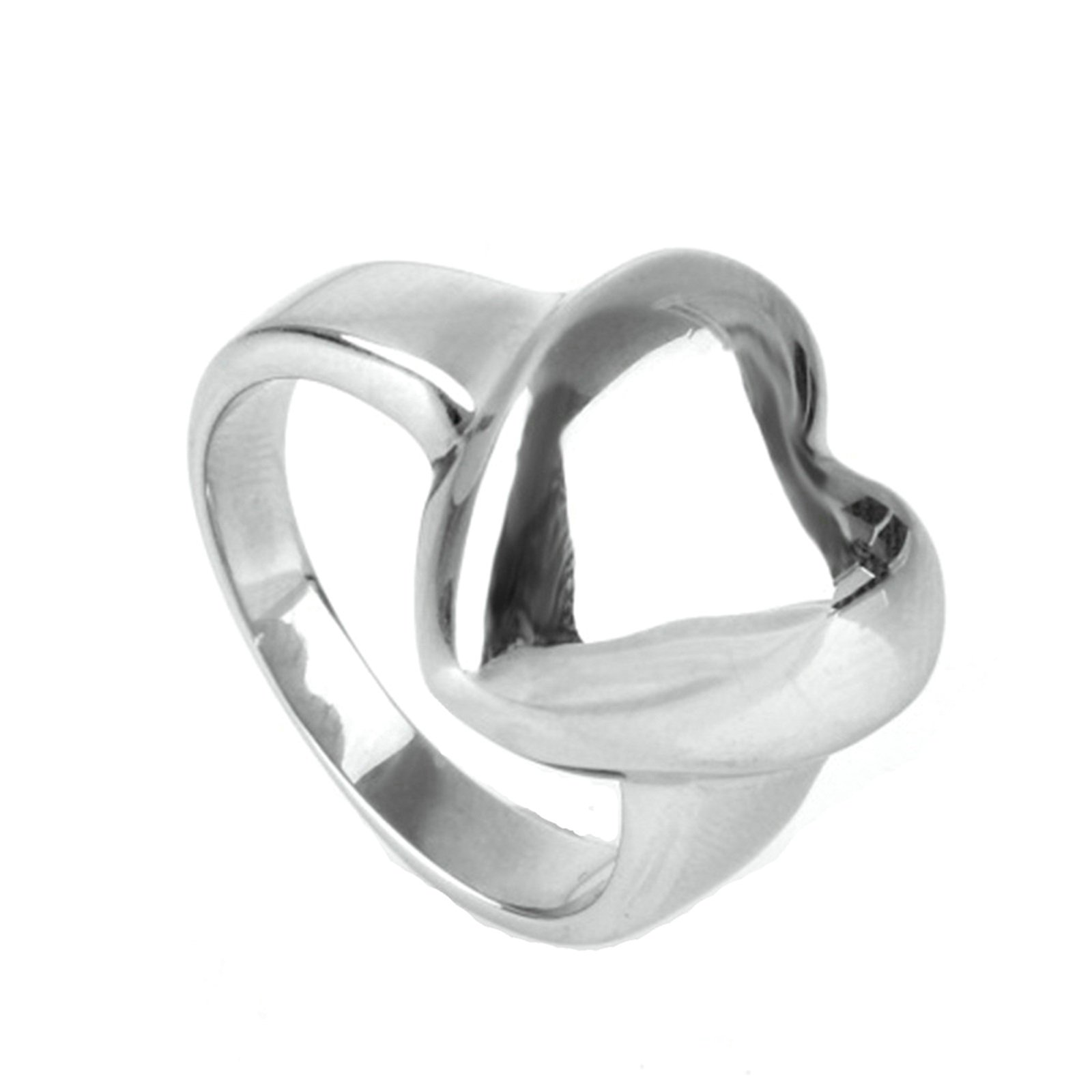 MoAndy Men Stainless Steel Vintage Retro Silver Heart Ring 6MM Size 12
