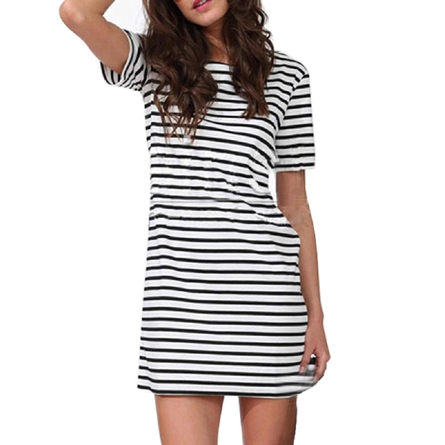 NOMENI Fashion Women Short Sleeve Round Neck Stripe Casual Short Mini Dress