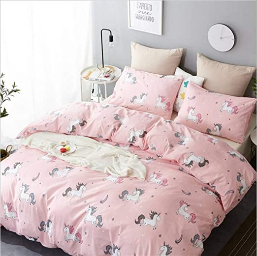 and 2 Pillow Cases Without Comforter Insert 3PCs Full Size with One Duvet Cover Hypoallergenic and Breathable Pink Princess Bed Set for Girls KFZ Unicorn Bedding Set