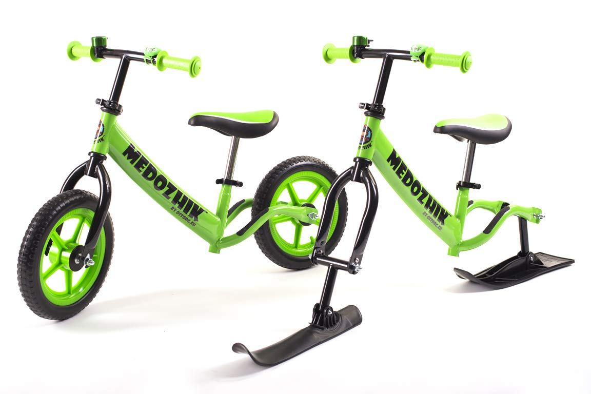 Medozhik Laufrad+Ski X Grün mit verstellbarem Lenker und Sitz für Kinder 1.5-5 Jahre alt