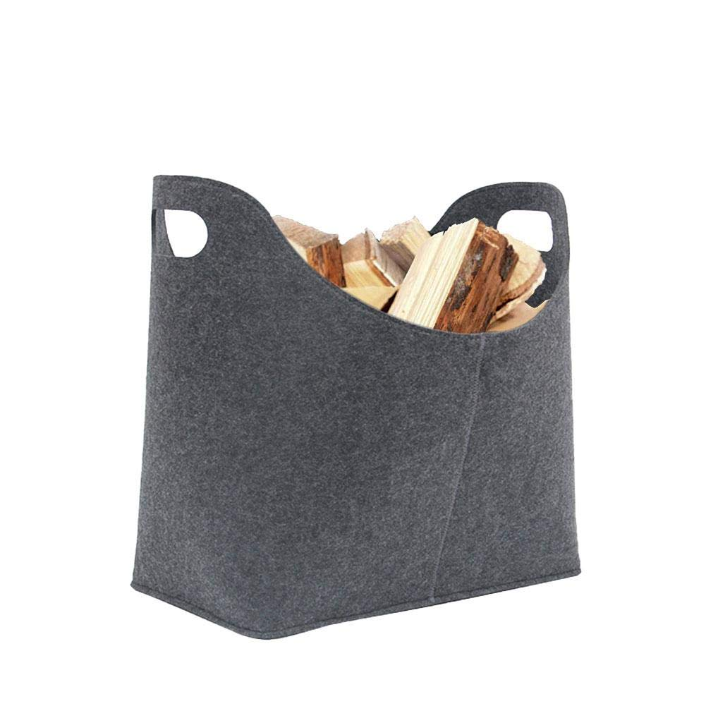 Felt Firewood Bag, Heavy Duty Wax Canvas Log Carrier Tote, Super Thickness, and Easy to Stow Away When It Not in Use by Bulary