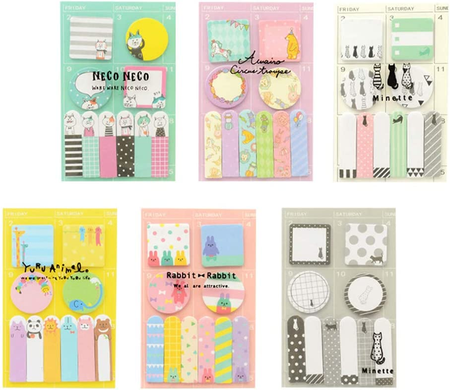giallo + verde + viola + rosa + grigio + bianco adesivi promemoria per la settimana foglietti adesivi programmati Toyvian 6 pacchi settimanali