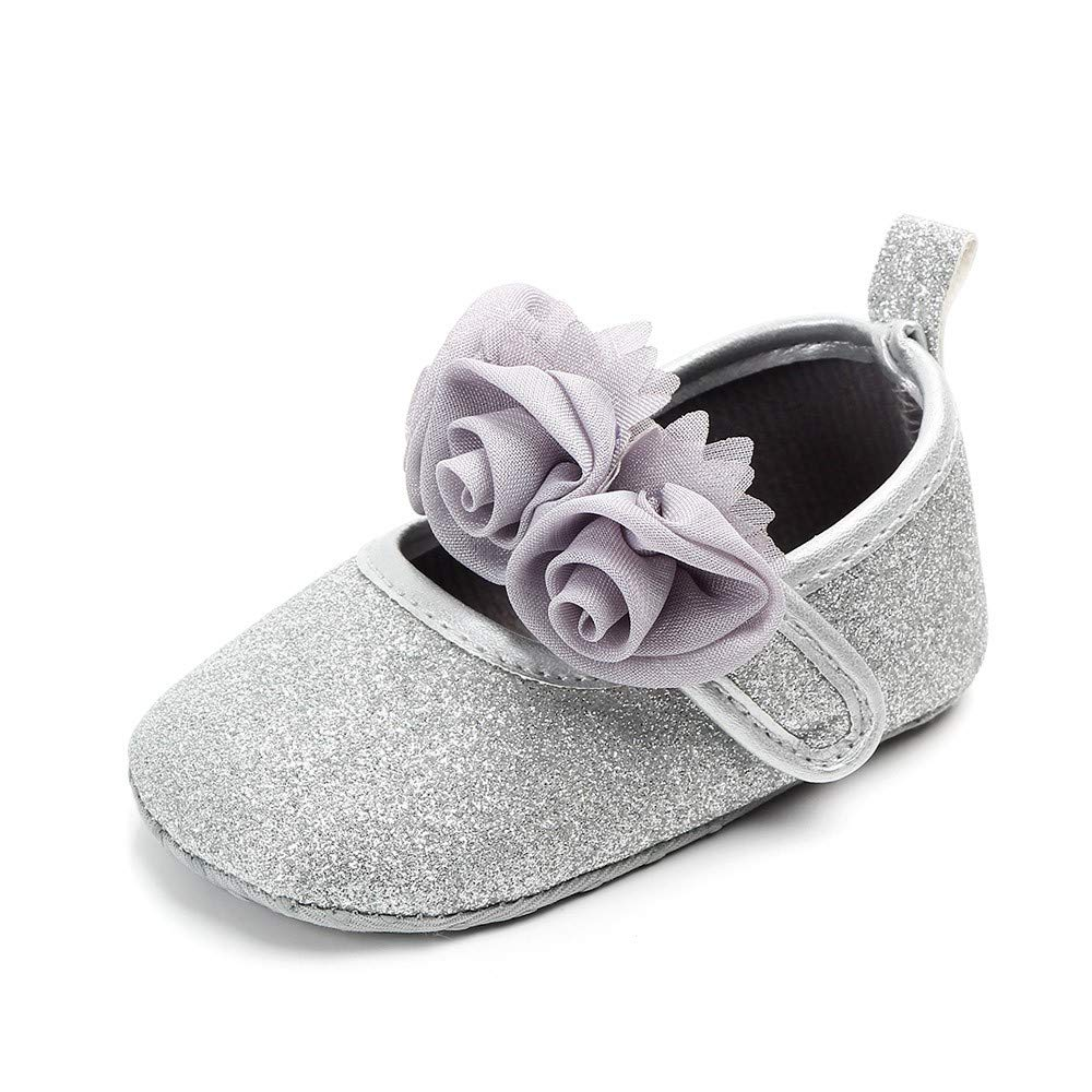 NUWFOR  Newborn Toddler Baby Girls Floral Bling First Walkers Soft Sole Shoes(Silver,0-3Months)