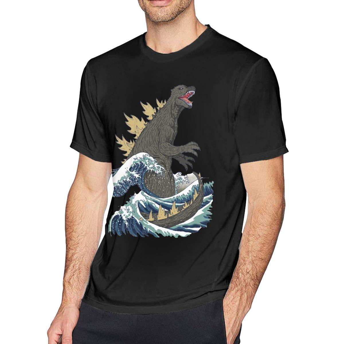 Slaoero The Great Godzilla Off Kanagawa S Soft Short Sleeve Tshirt Black