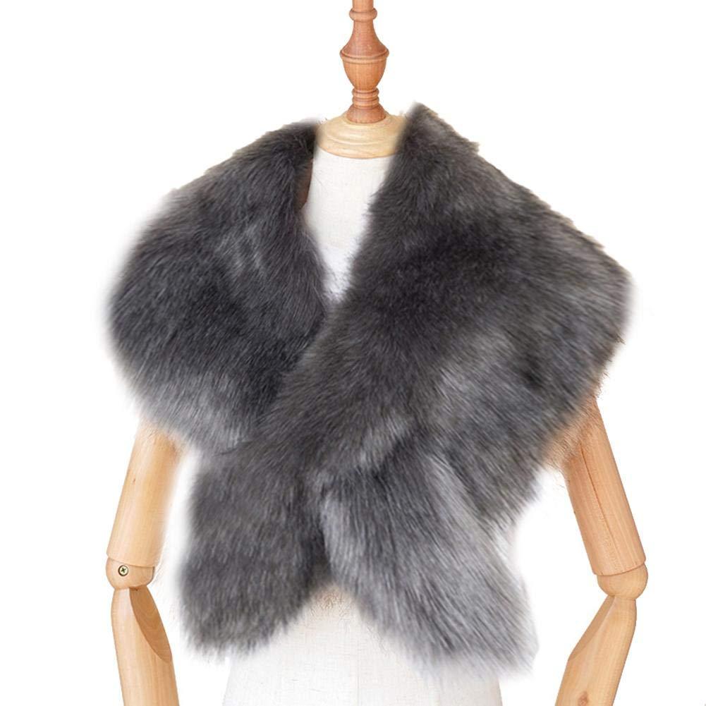 Scialle da donna in pelliccia sintetica Scialle Sciarpa in pelliccia sintetica Accessori per avvolgere Matrimonio Finta pelliccia di volpe artificiale Avvolge Mantella da sera per cappotto invernale
