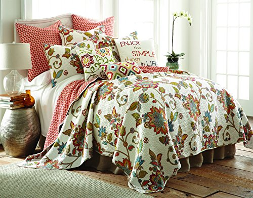 Levtex Clementine King Cotton Quilt Set Floral Jacobean ()