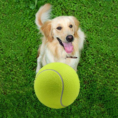 Pet Dog Toy Tennis Ball 9.5 Inch Oversize Giant Durable Pet Training Toys Rubber Tennis Balls for Children Adult Large Pet Dogs Fun By Cideros (Rubber Ball Toys Tennis)