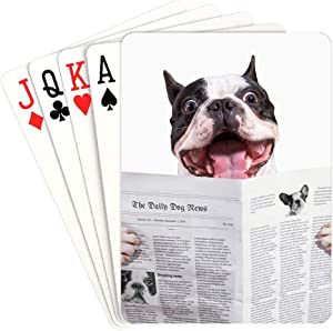 HUAPIN Poker Card Game Dog Reading Newspaper Or Magazine Unusual Playing Cards Unique for Kids & Adults Card Decks Games Standard Size