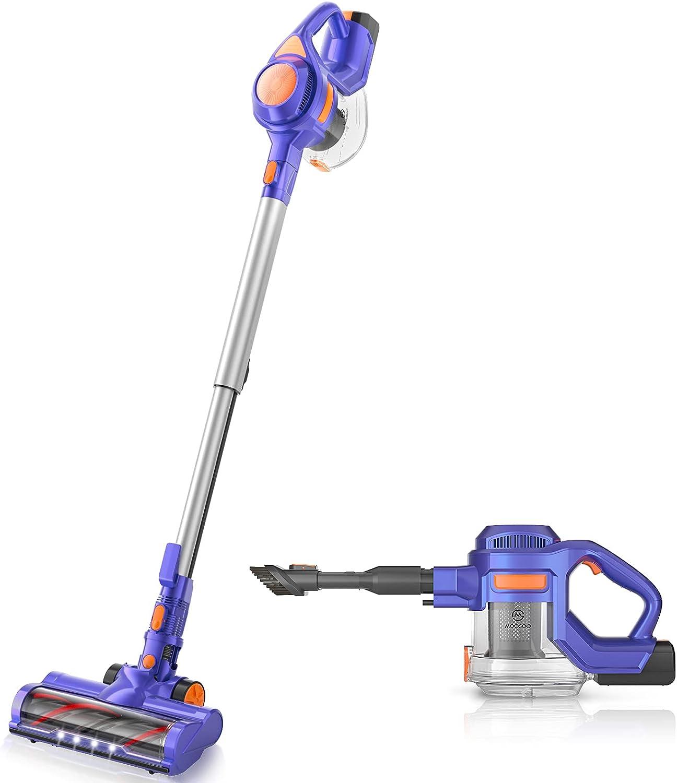 MOOSOO Cordless Vacuum Cleaner, 24KPa Powerful Suction 100000 RPM High-Speed Brushless Motor Quiet Lightweight 4 in 1 Stick Vacuum Cleaner 1.3L Capacity for Home Hardwood Floor Carpet Pet Hair - X8