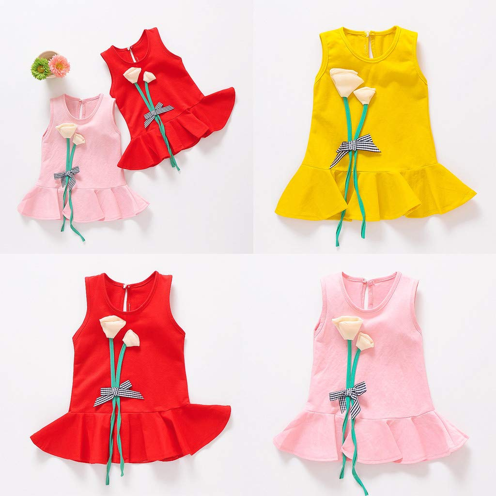 Mysky Fashion Toddler Baby Girls Summer Sweet Flowers Decoration Sleeveless Bell Hem Party Princess Dress